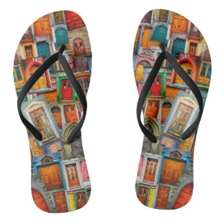 Old Doors of the World Unique Colorful Flip Flops