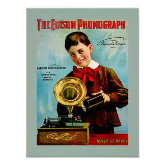 Old Edison Phonograph Cylinder Record Player Ad Poster