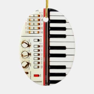 Old Electric Keyboard Ceramic Oval Decoration