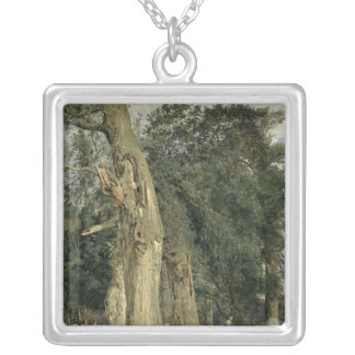 Old elms in Prater, 1831 Silver Plated Necklace