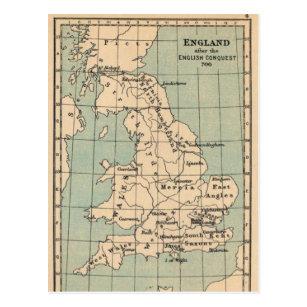 Old England Map Postcard