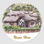 OLD ENGLAND THATCHED COTTAGES UK ROUND STICKERS