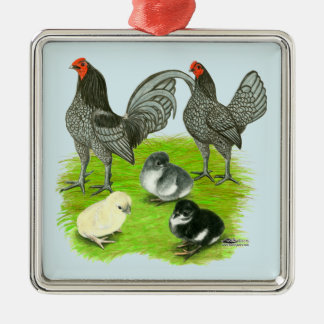 Old English Blue Game Family Silver-Colored Square Ornament