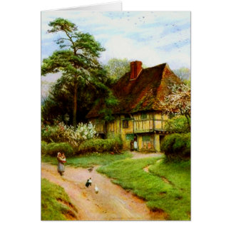 Old English Country Cottage Greeting Cards