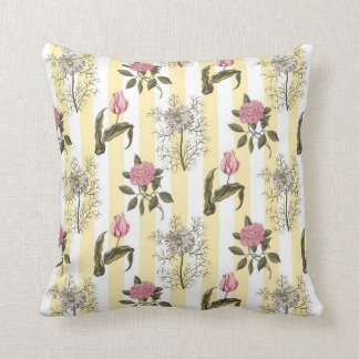 Old English Garden Vintage Floral Pattern Throw Pillow