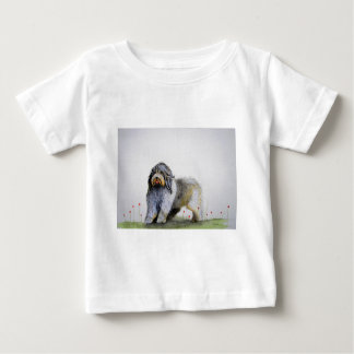Old English Sheep Dog puppy and poppies Baby T-Shirt