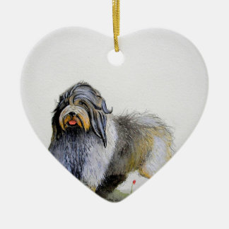 Old English Sheep Dog puppy and poppies Christmas Ornament