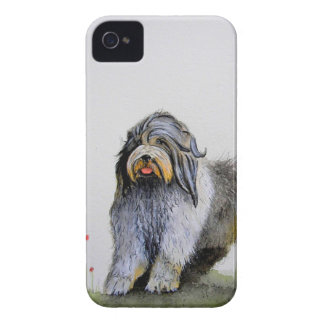 Old English Sheep Dog puppy and poppies iPhone 4 Cover