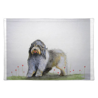 Old English Sheep Dog puppy and poppies Placemat