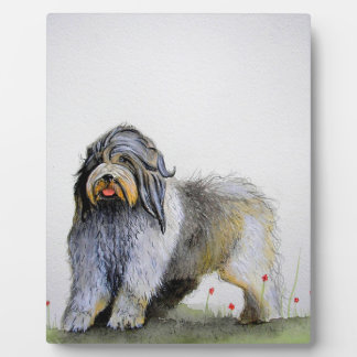 Old English Sheep Dog puppy and poppies Plaque