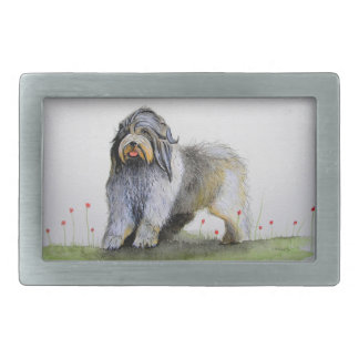 Old English Sheep Dog puppy and poppies Rectangular Belt Buckle