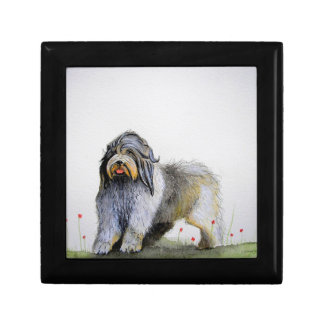 Old English Sheep Dog puppy and poppies Small Square Gift Box