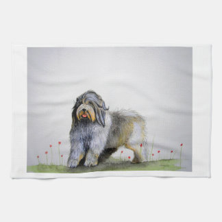 Old English Sheep Dog puppy and poppies Tea Towel