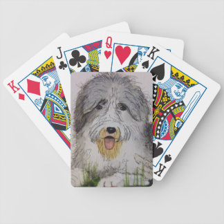 Old English Sheep Dog puppy Bicycle Playing Cards