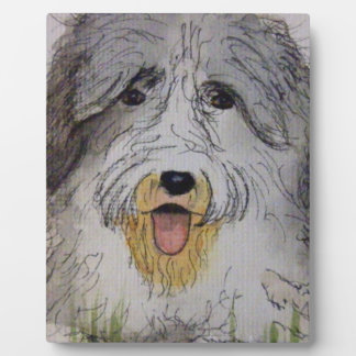 Old English Sheep Dog puppy Photo Plaque