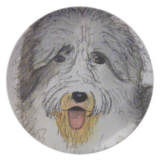 Old English Sheep Dog puppy Plate