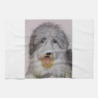 Old English Sheep Dog puppy Tea Towel