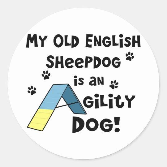 Old English Sheepdog Agility Dog Classic Round Sticker
