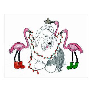 Old English Sheepdog and Pink Flamingos Christmas Postcard