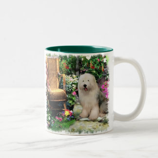 Old English Sheepdog Art Gifts Two-Tone Coffee Mug