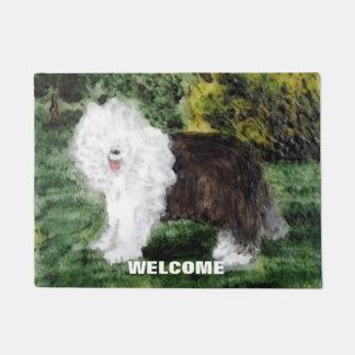 Old English Sheepdog Art welcoming you! Doormat