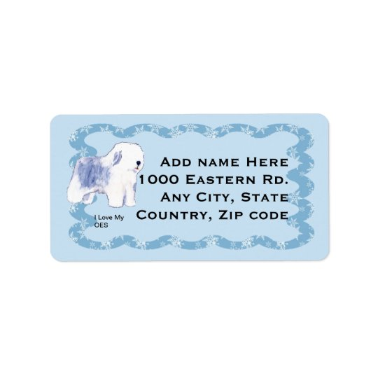 Old English Sheepdog, Blue Squiggly Label