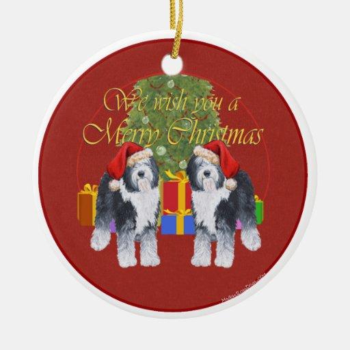 Old English Sheepdog Christmas Double-Sided Ceramic Round