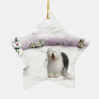 Old english sheepdog Christmas ornament