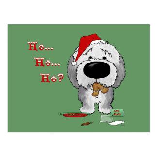 Old English Sheepdog Christmas Postcard