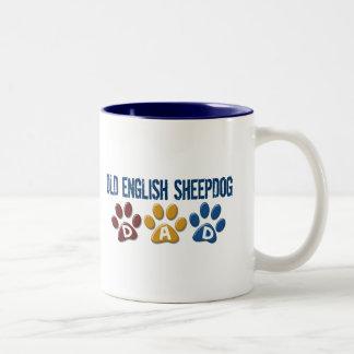 OLD ENGLISH SHEEPDOG Dad Paw Print 1 Two-Tone Coffee Mug