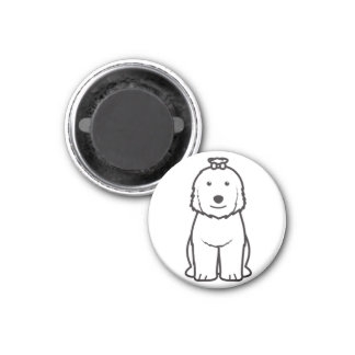 Old English Sheepdog Dog Cartoon 3 Cm Round Magnet