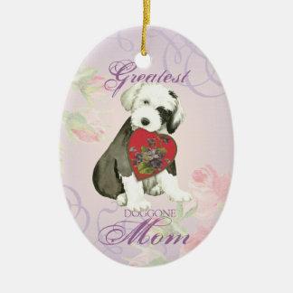 Old English Sheepdog Heart Mom Christmas Ornament