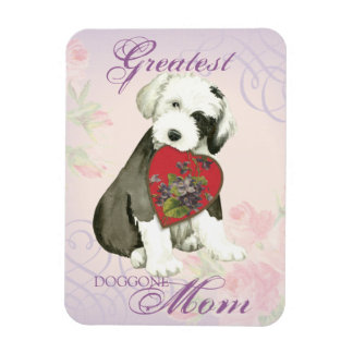 Old English Sheepdog Heart Mom Magnet