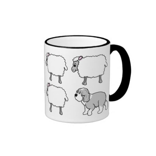Old English Sheepdog Herding Sheep Mug