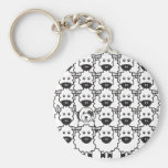Old English Sheepdog in the Sheep Basic Round Button Key Ring