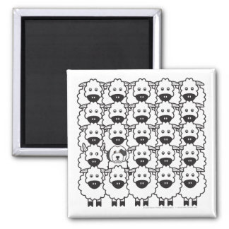 Old English Sheepdog in the Sheep Square Magnet
