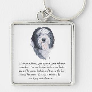 Old English Sheepdog Keepsake - Male Silver-Colored Square Key Ring