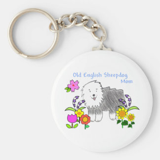 Old English Sheepdog Mom Keychain