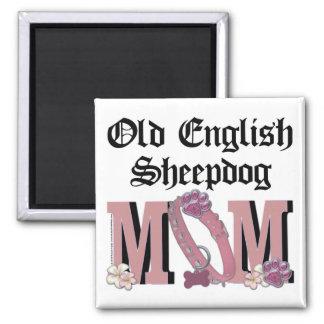 Old English Sheepdog MOM Square Magnet