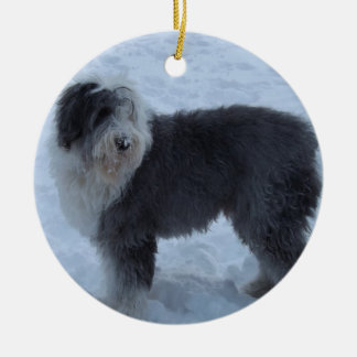 Old English Sheepdog Ornament - Snow Dog!