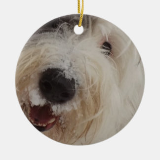 Old English Sheepdog Ornament - Snow Face