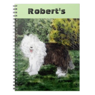 Old English Sheepdog Painting Spiral Notebook