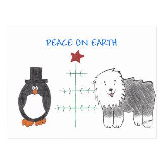 Old English Sheepdog Peace On Earth Post Card