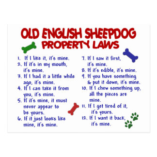 OLD ENGLISH SHEEPDOG Property Laws 2 Postcard