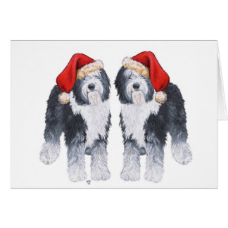 Old English Sheepdog Santa Hat Card