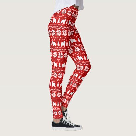 Old English Sheepdog Silhouettes Christmas Pattern Leggings