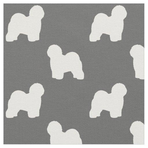 Old English Sheepdog Silhouettes Pattern Fabric