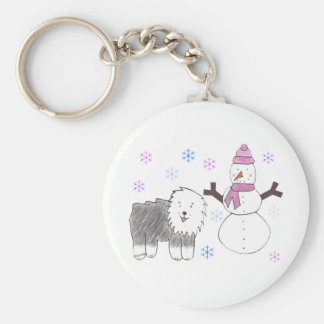 Old English Sheepdog & Snowman Key Ring