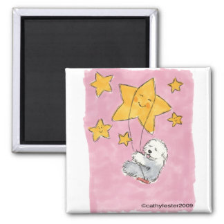 Old English Sheepdog Star Square Magnet