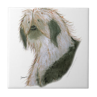 Old English Sheepdog, tony fernandes Small Square Tile